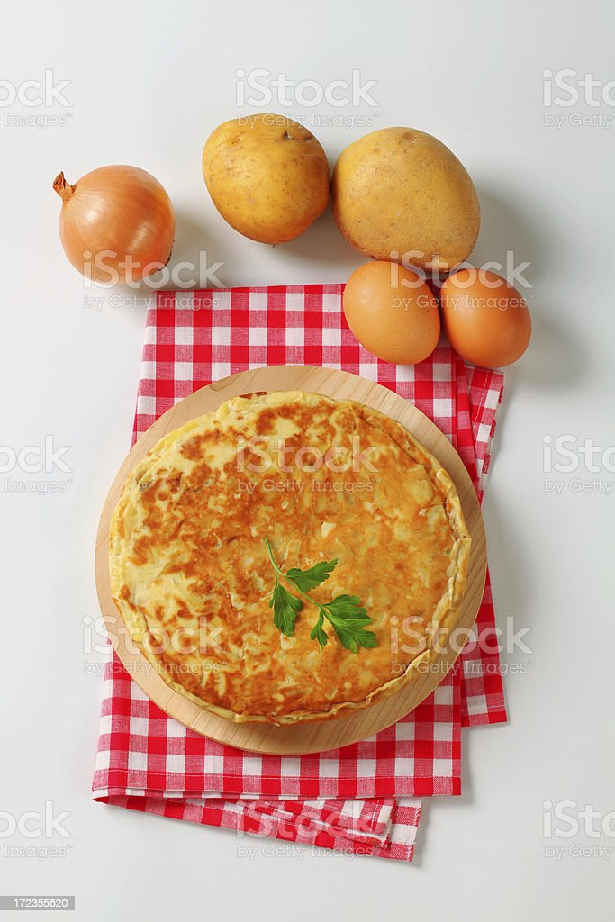 spanish tortilla with onion, eggs and potatos royalty-free stock photo