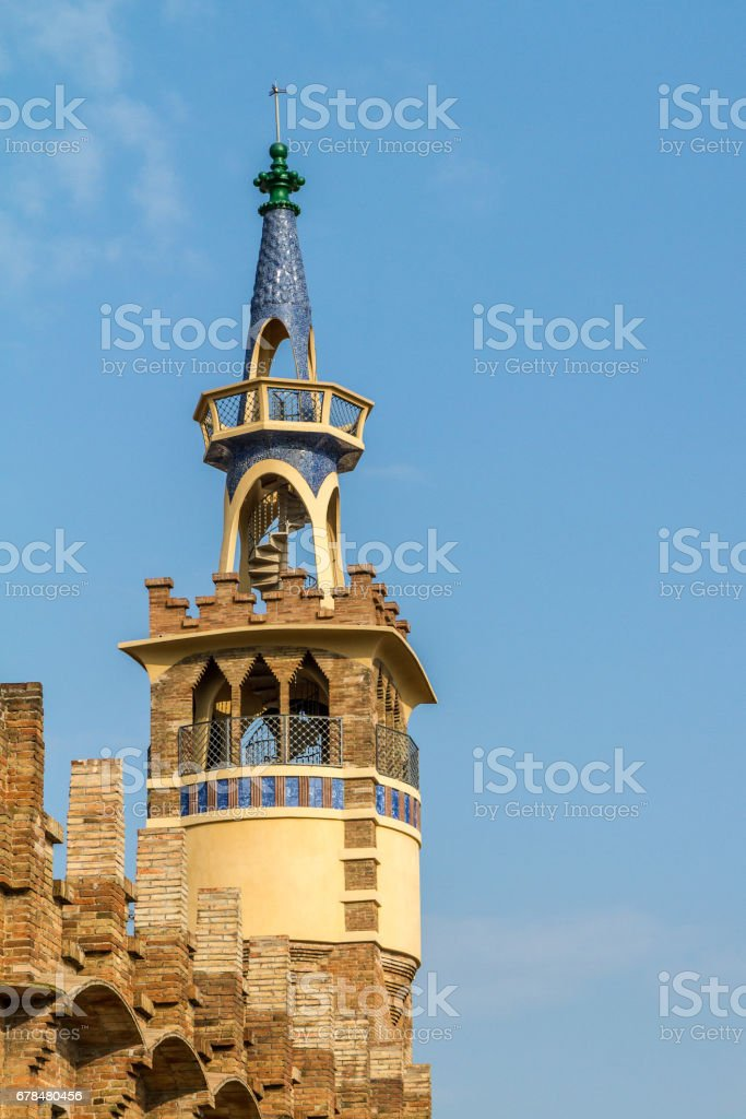 Spanish tower in Barcelona royalty-free stock photo