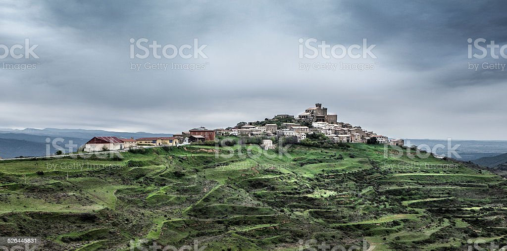 Spanish town on a hill stock photo