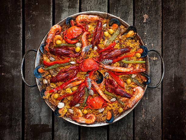 Spanish Traditional Seafood Paella stock photo