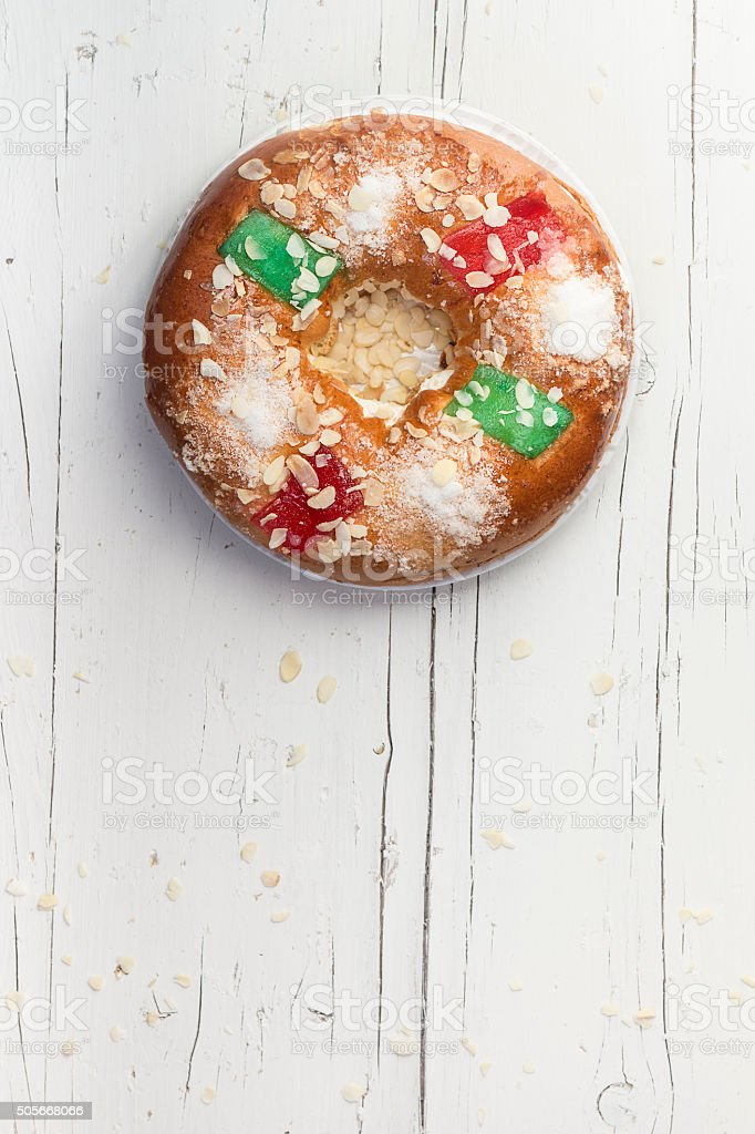 Spanish traditional sweet cake in Chritsmas stock photo