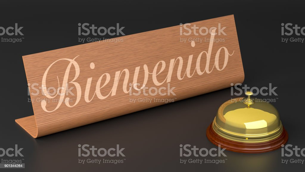 Spanish Welcome Sign with Hotel Call Bell stock photo