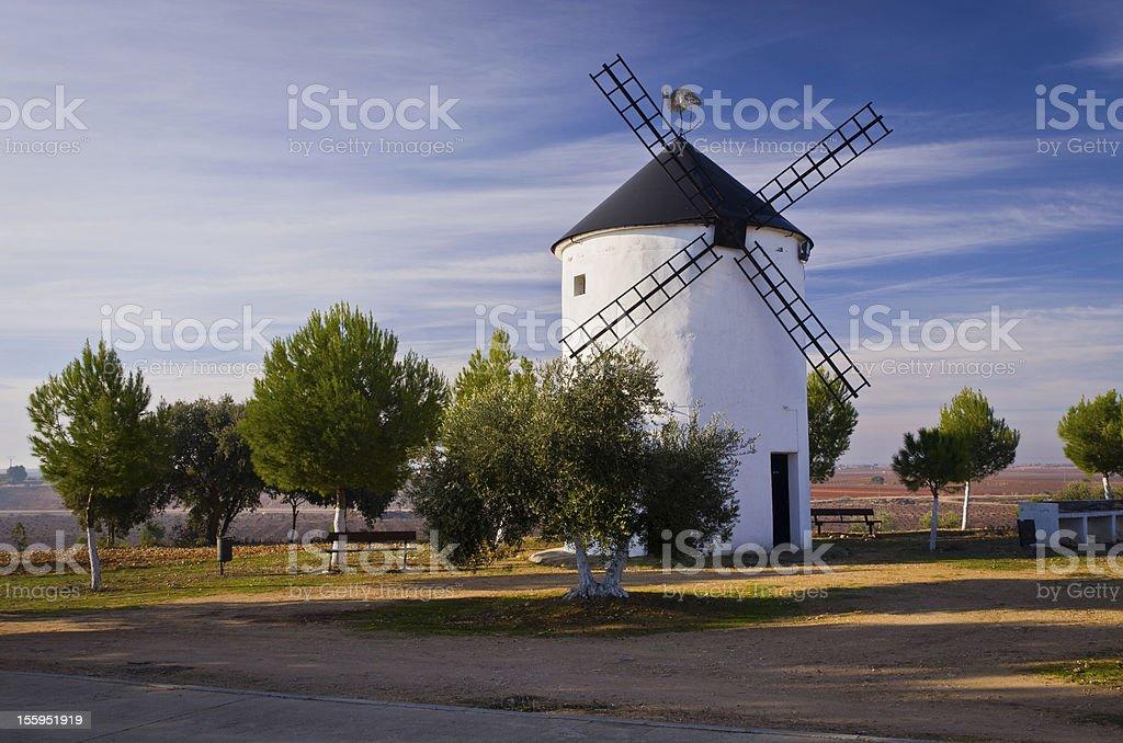 Spanish Windmill In La Mancha stock photo