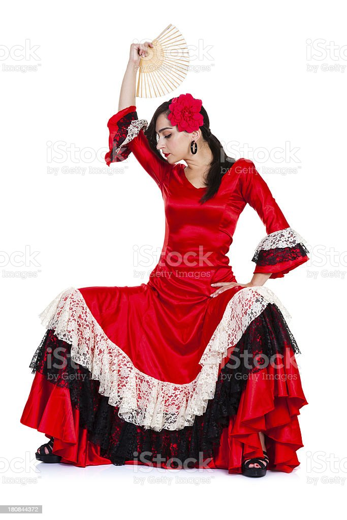 Spanish woman in red with fan on white background royalty-free stock photo