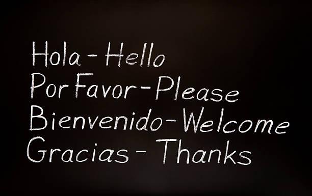 spanischen worten und die englische übersetzung - spanisch translator stock-fotos und bilder