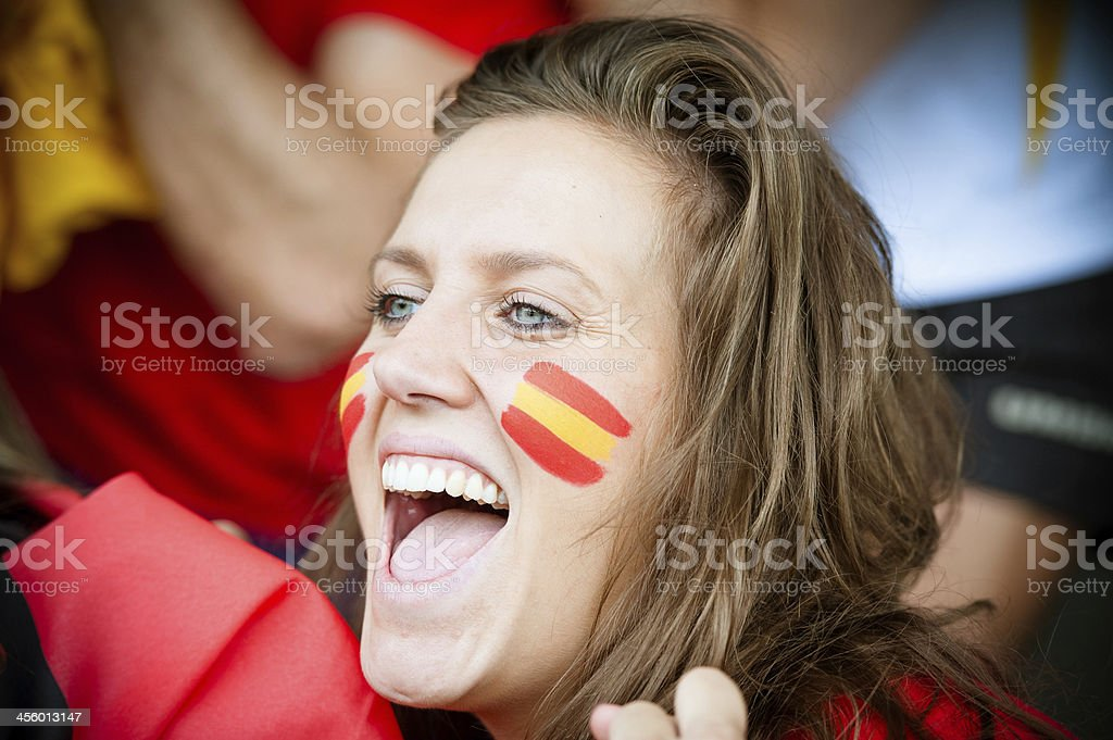 Spanish young supporter at the stadium royalty-free stock photo