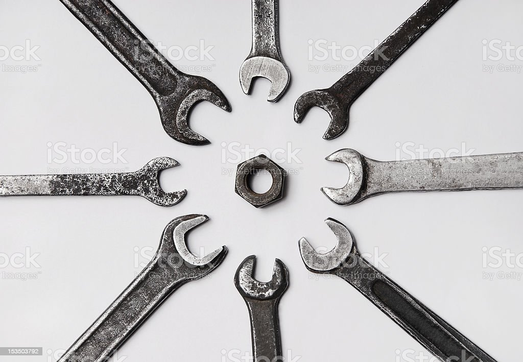 spanners and screw stock photo