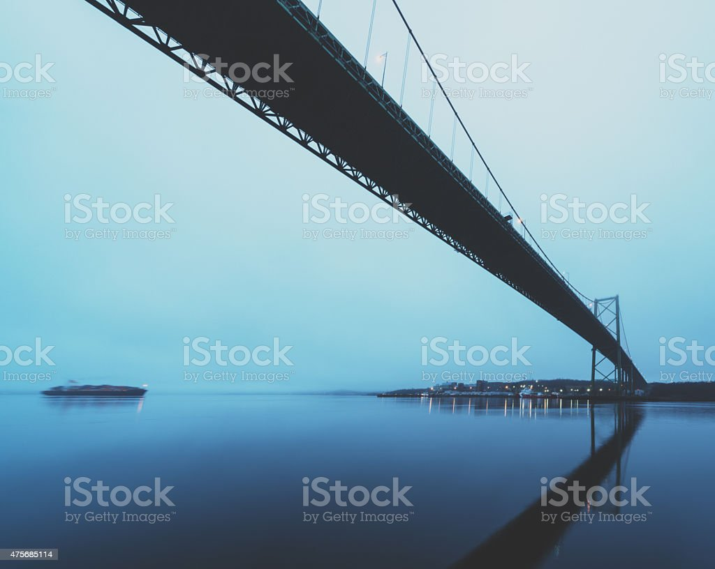 Spanning the Still Harbour stock photo