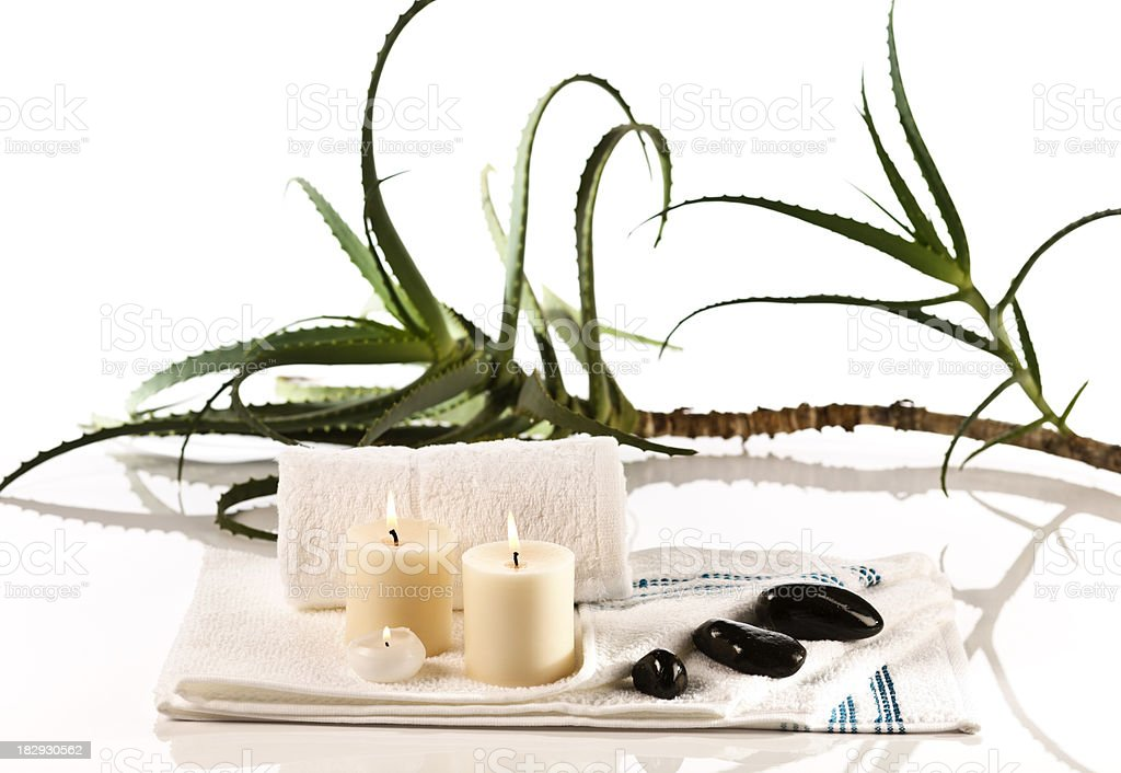 Spar with Aloe and towels. stock photo