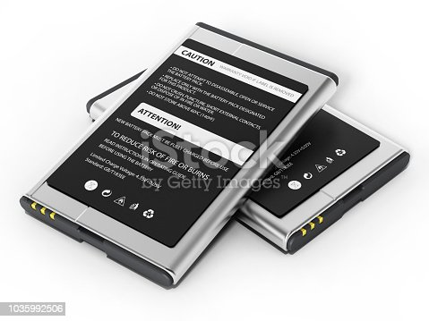 Spare batteries with warning text and icons isolated on white.