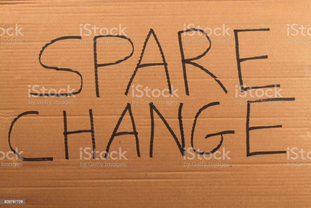 Spare Change Cardboard Sign stock photo