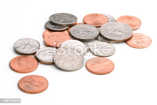 a small pile of US coins
