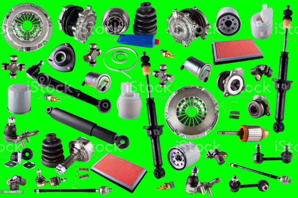Spare parts car on the green background stock photo