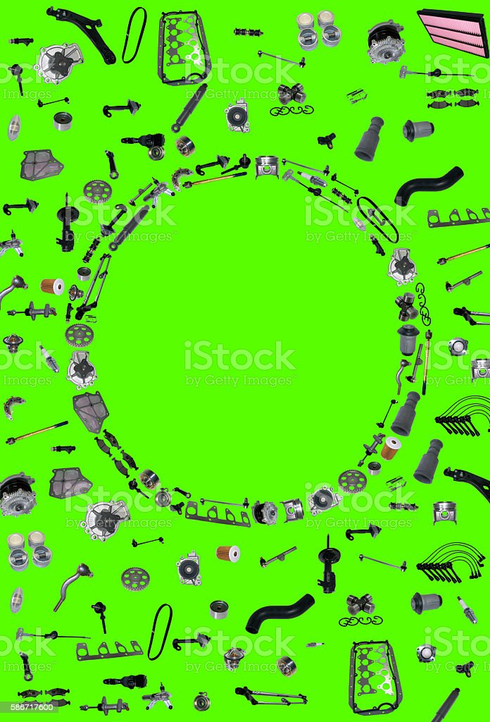Spare parts car on the green background set stock photo