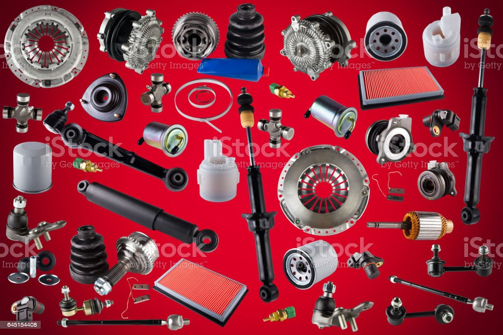 Spare parts car on the red background stock photo