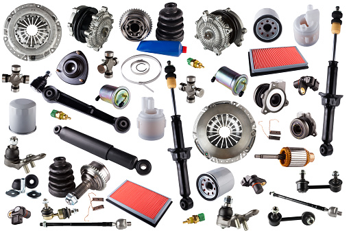 istock Spare parts car on the white background 643851592