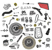 istock Spare parts car on the white background set 498124336