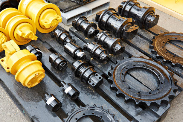 Spare parts chassis of construction machinery Spare parts for chassis of construction machinery agricultural machinery stock pictures, royalty-free photos & images