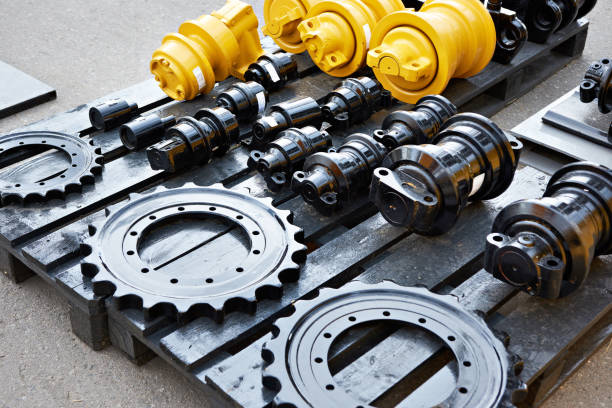 Spare parts chassis of construction machinery stock photo