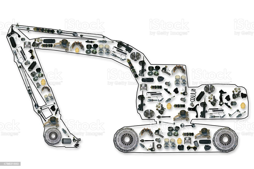 spare parts for truck or excavator stock photo