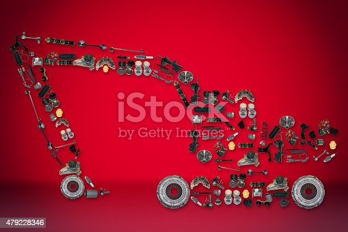 istock spare parts for truck or excavator 479228346