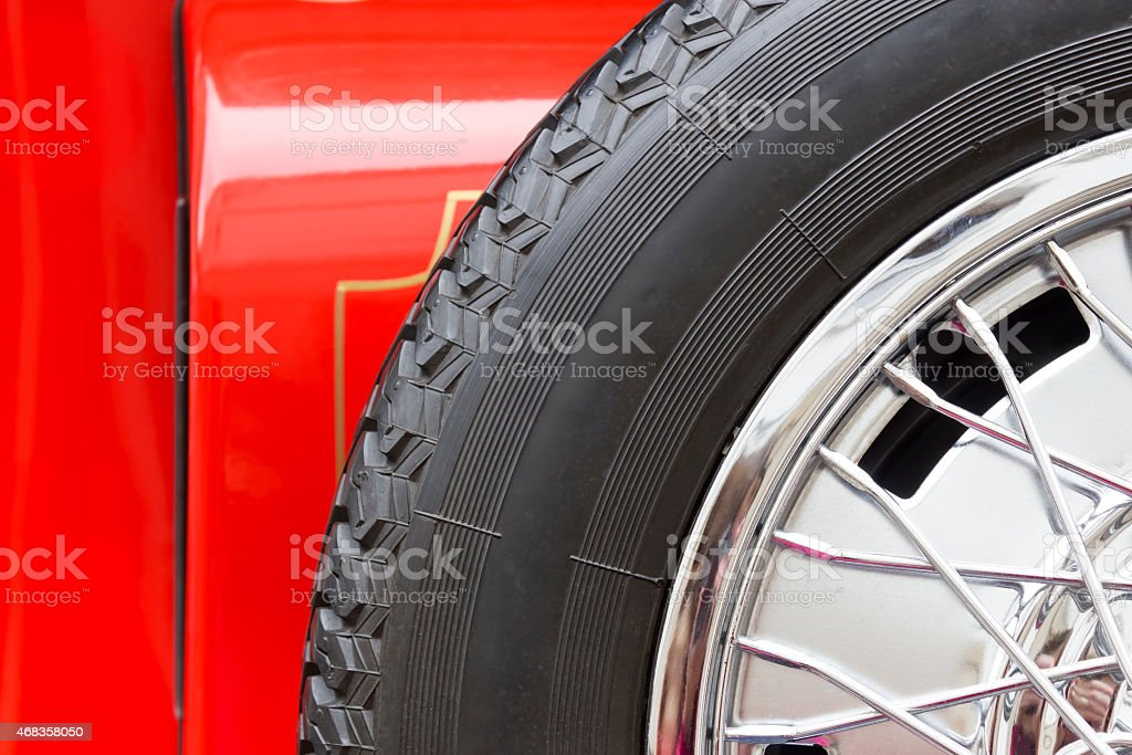 Spare wheel of a red car royalty-free stock photo