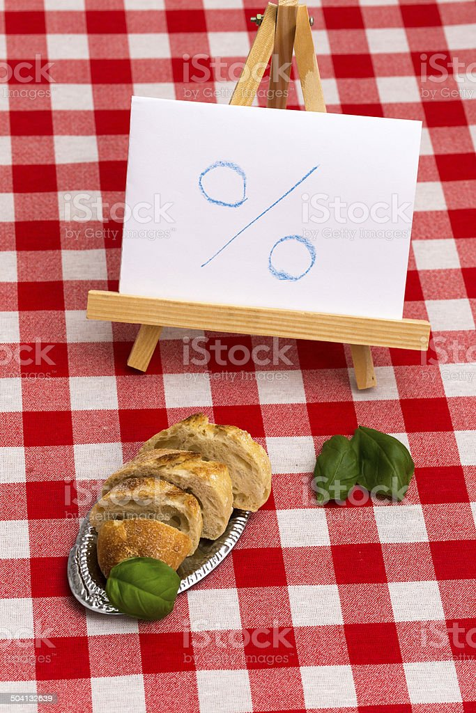 Sparen Symbol und Baguette stock photo