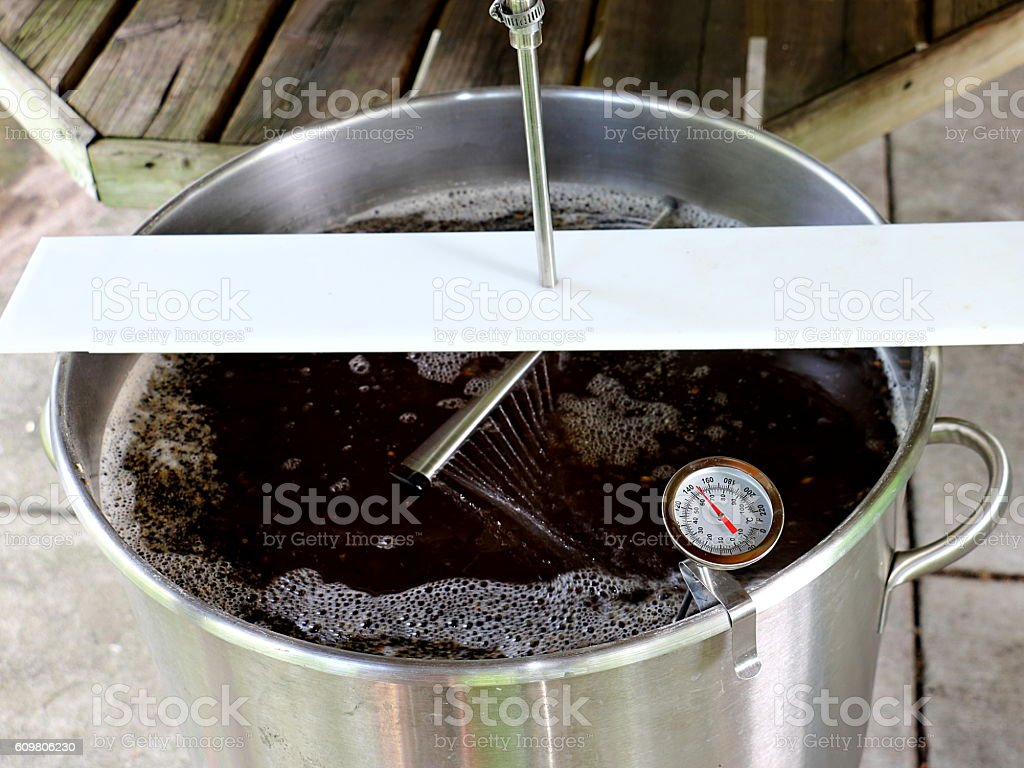 Sparging Mash for  Brown Ale with Motion Blur stock photo