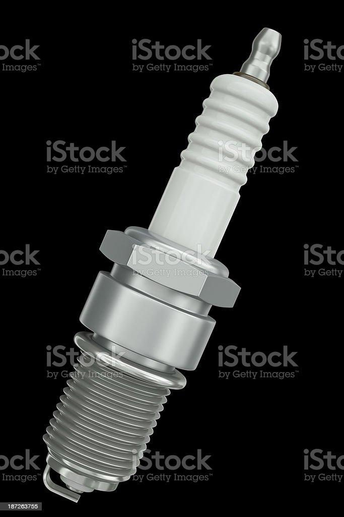 Spark plug, car engine part on a black background royalty-free stock photo