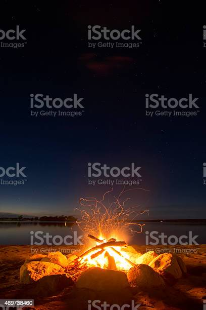 Photo of Sparking camp fire beside lake under a starry sky.