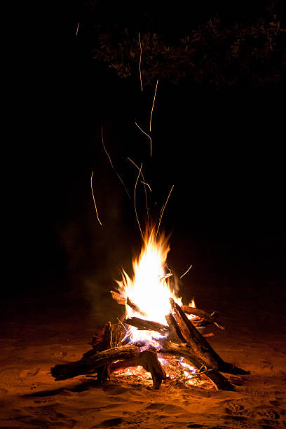 Sparking Camp Fire in the Night Sparking Camp Fire in the Night bonfire stock pictures, royalty-free photos & images