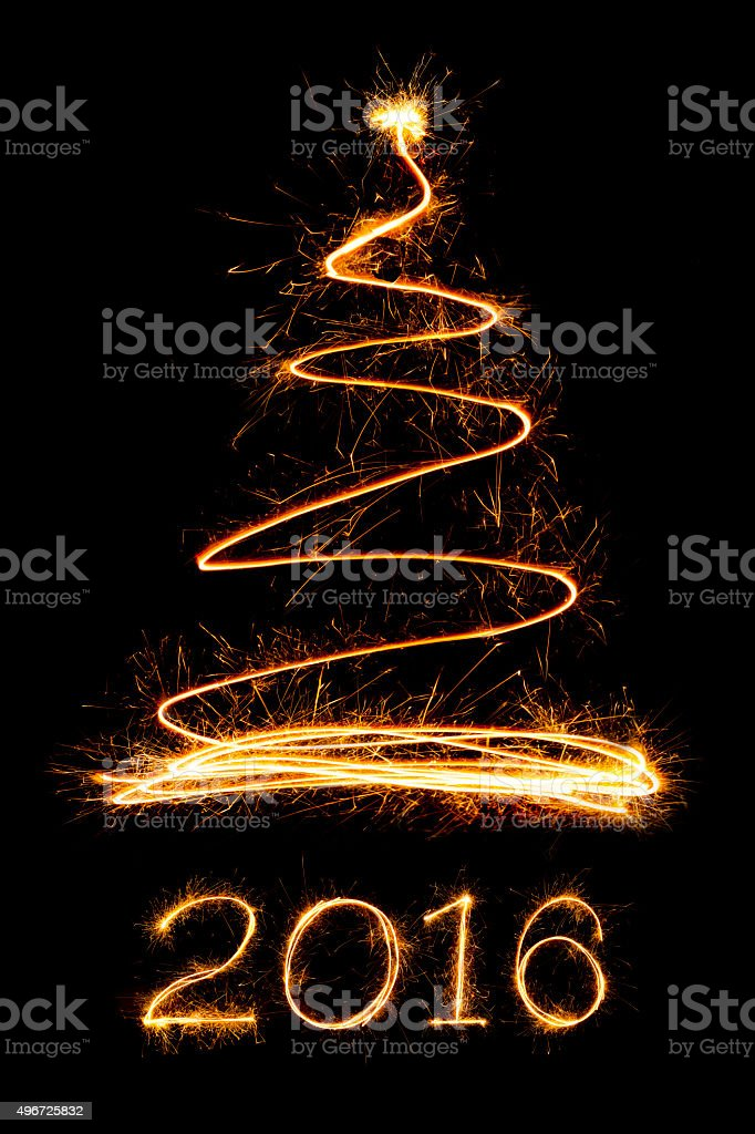 Sparkle firework Christmas tree and text stock photo