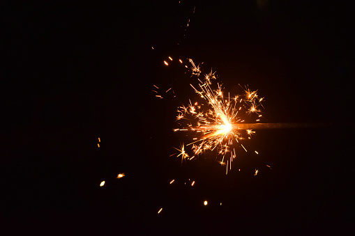 Sparkles which are type of fireworks lighten during the celebration of the diwali  the festival of lights in India and selective focus.