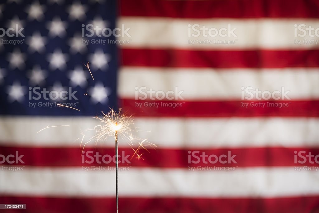 Sparkler and  America Flag Horizontal stock photo