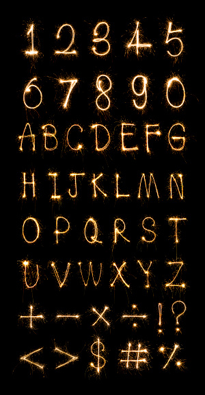 Sparkler Firework Light Alphabet Stock Photo - Download Image Now