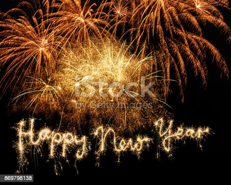 istock Sparkler Happy New Year with Fireworks on Sky 869798138