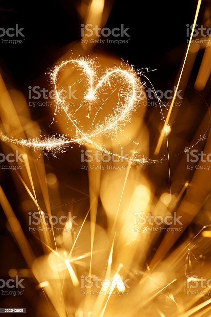 Sparkler Heart Background stock photo