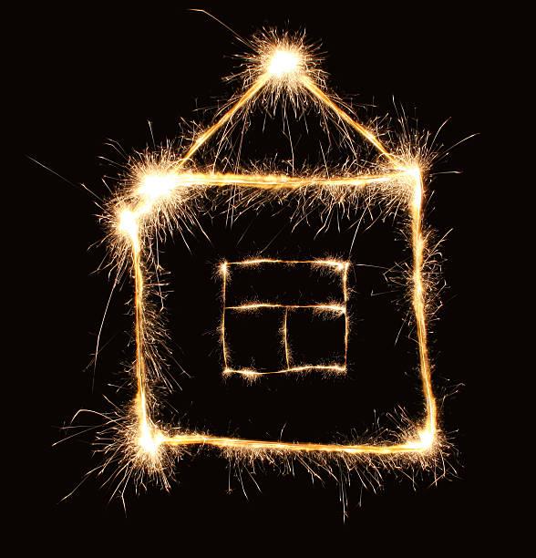 sparkler house stock photo