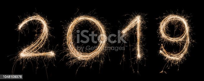 istock 2019 Sparkler Light drawn in numbers for happy new year at night time to celebrate special holiday occasion, Christmas party, diwali, independent day 1048109376