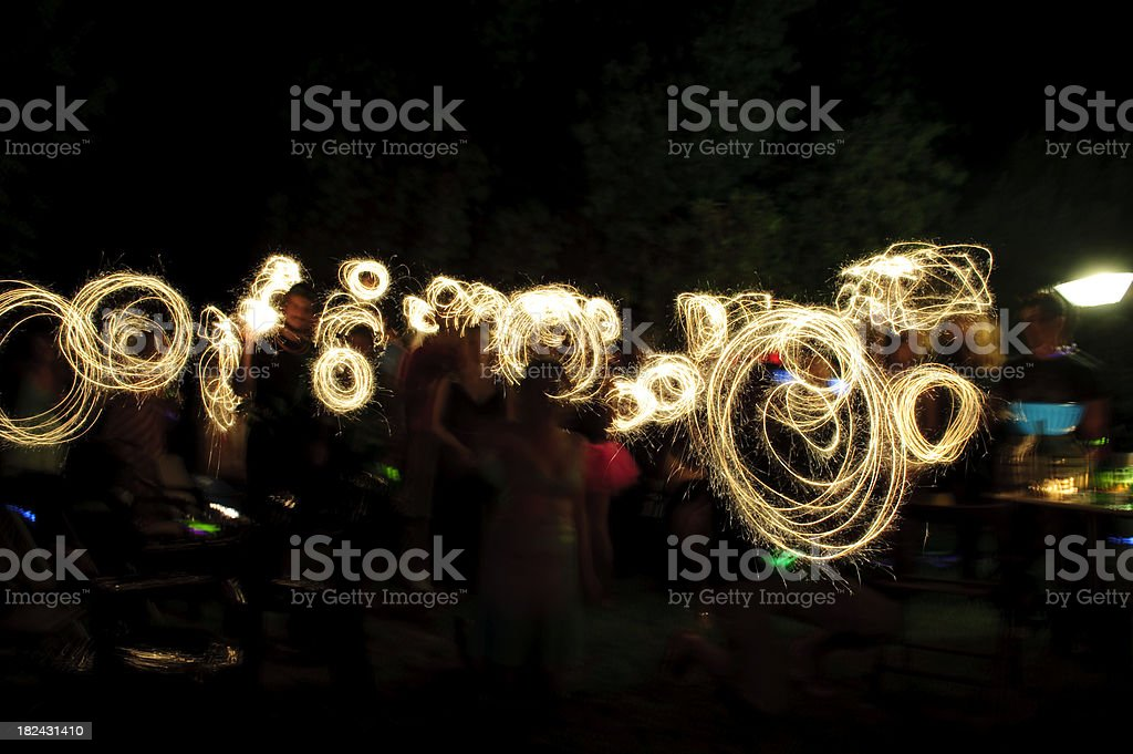Sparkler party crowd night time royalty-free stock photo
