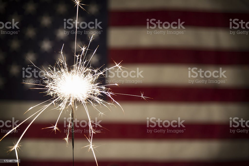 Sparkler with American Flag Horizontal stock photo