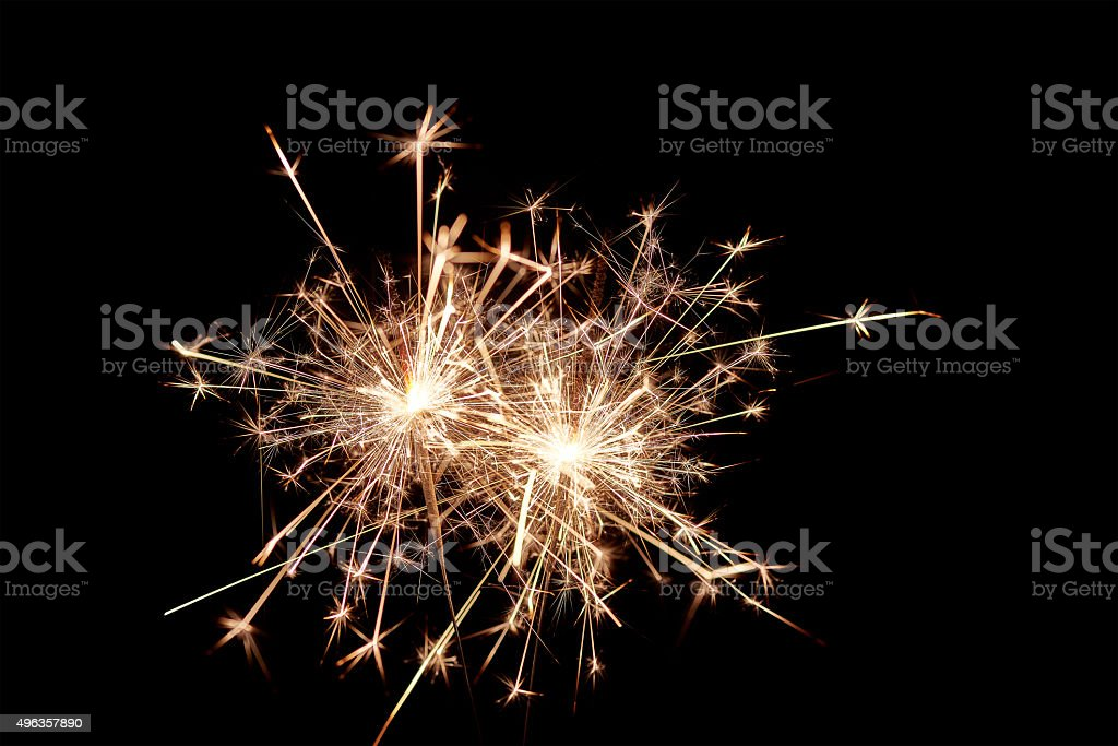 Sparklers. Christmas and New Year Lights. stock photo