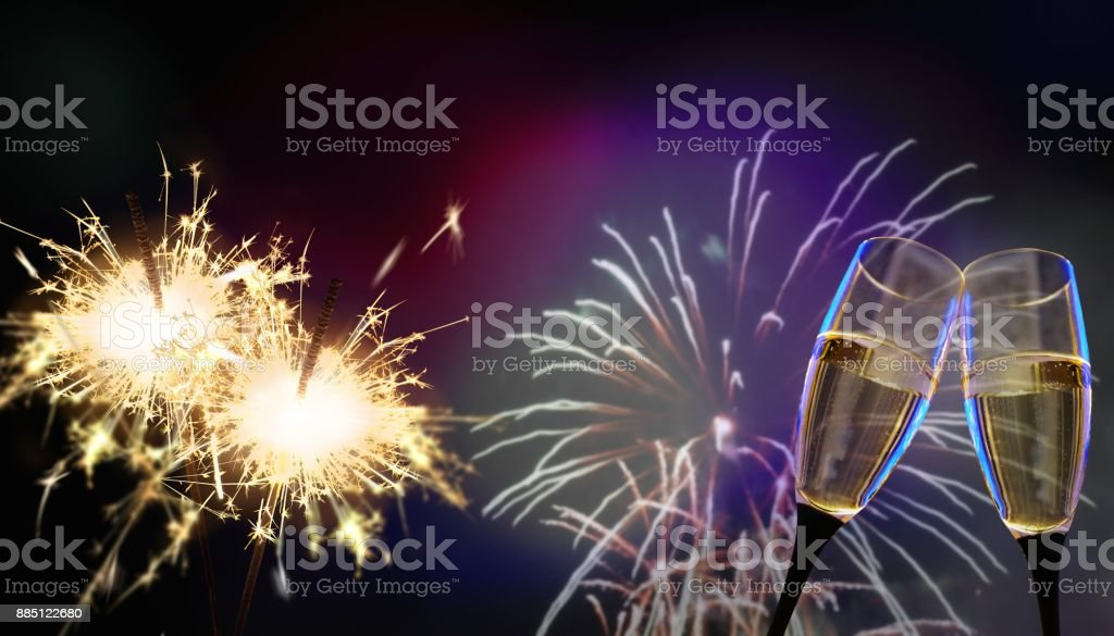 sparklers - New Year's Eve or e.g. birthday and celebration stock photo