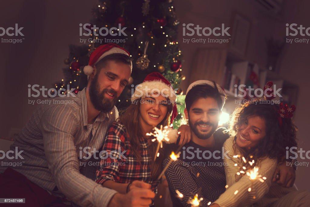 Sparkles at midnight stock photo