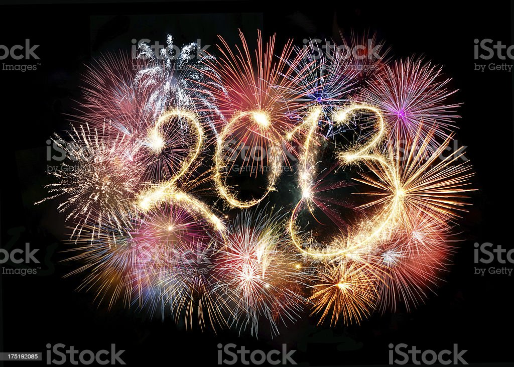 Sparkling 2013 With Fireworks royalty-free stock photo