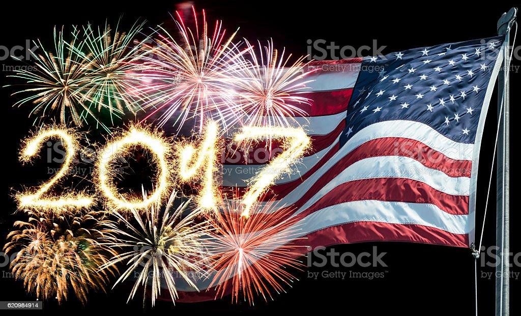 sparkling 2017 text on balck background stock photo