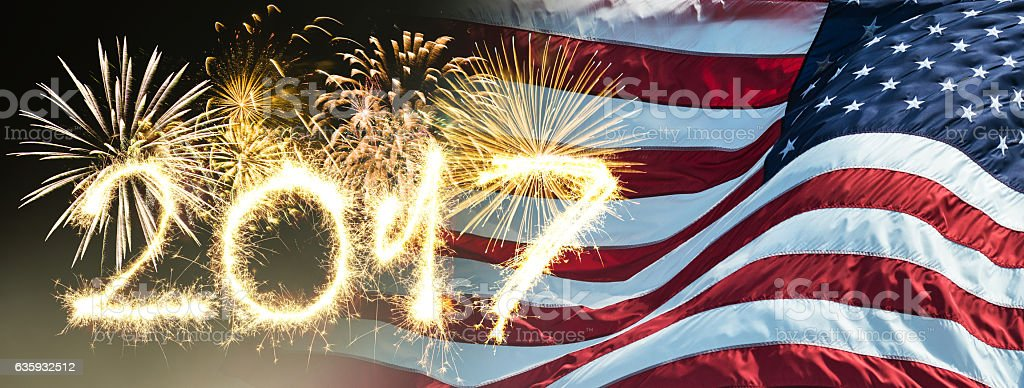 sparkling 2017 text on us flag background stock photo