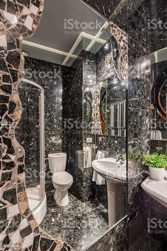 Sparkling bathroom lights resembling starry night stock photo