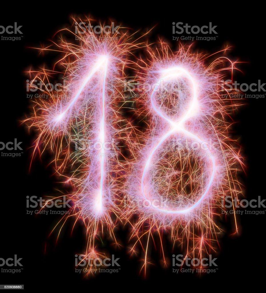sparkling celebration number eighteen 18th birthday stock photo