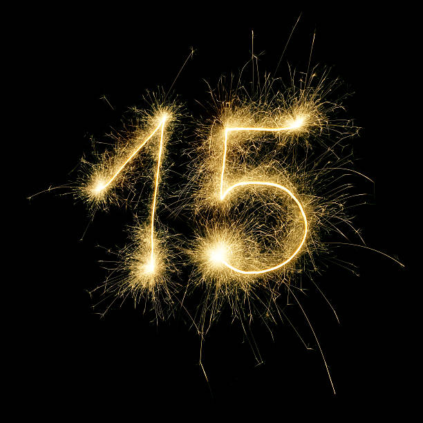 Sparkling Celebration Number Fifteen stock photo